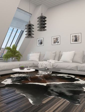 Comfortable modern living room interior with a corner leather suite, low tables and large windows in a sloping white wall photo