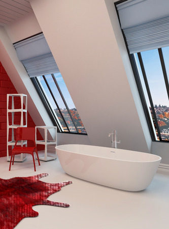 sloping: Dramatic spacious red and white bathroom interior with a freestanding tub, sloping wall with view windows Stock Photo