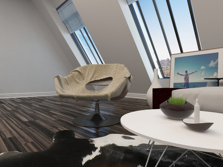 sloping: Tub chair in a modern living room interior overlooked by two long sloping view windows