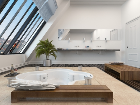 sloping: Modern bathroom interior with a sunken spa bath in a parquet floor and panoramic sloping view windows down one wall allowing in plenty of daylight Stock Photo