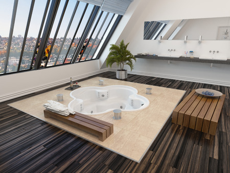 Modern bathroom interior with a sunken spa bath in a parquet floor and panoramic sloping view windows down one wall allowing in plenty of daylight photo
