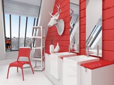 sloping: Striking red and white bathroom interior in a sloping room with a deer head mounted on the wall, animal skin on the floor and double vanity unit