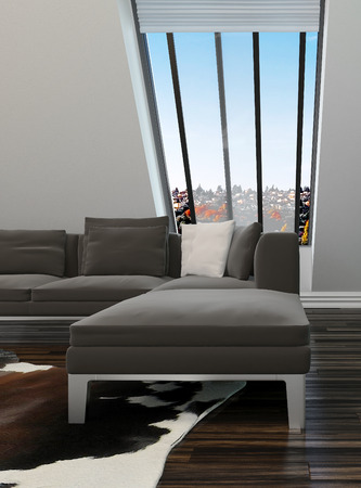 sloping: Modern sitting room interior decor with a sloping wall with windows, contemporary lounge suite and parquet floor