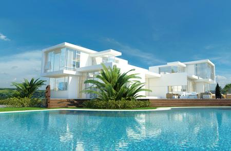 millonario: Lujo moderno casa blanca con paredes angulares y grandes ventanas con vistas a un jard�n tropical con palmeras y curvos piscina azul Foto de archivo