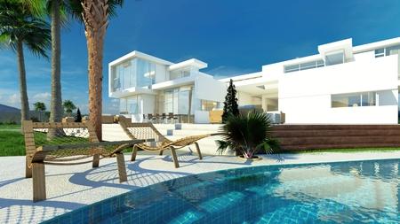 case moderne: Casa bianca moderna di lusso con pareti angolari e grandi finestre che si affacciano su un giardino tropicale paesaggistico con palme e curvatura piscina blu Archivio Fotografico
