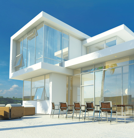 patio: Modern angular whitewashed luxury tropical villa with huge glass windows overlooking a paved patio with an outdoor living area and furniture