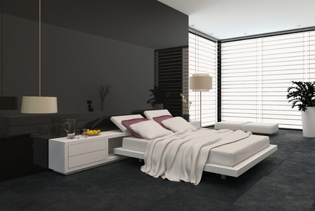 accommodation: Spacious modern bedroom with an adjustable double bed, large wrap around view window with blinds, cabinets and a plant in black and grey decor