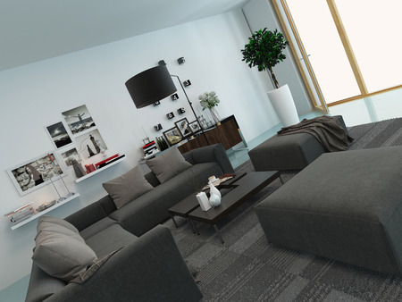 Modern living room interior with a comfortable upholstered lounge suite, houseplants and nice decorations photo