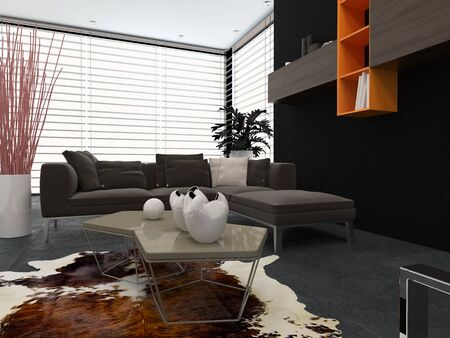 venetian blind: Modern lounge with contemporary armchairs, a comfortable sofa, animal skin on the floor and wall-mounted cabinets Stock Photo