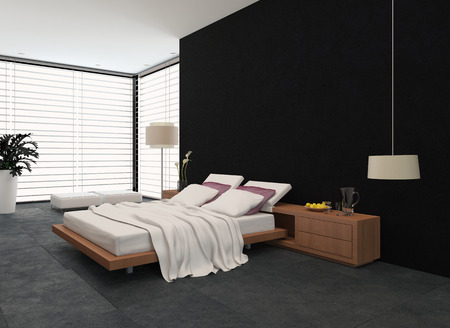 Spacious Modern Bedroom With An Adjustable Double Bed, Large Wrap Around  View Window With Blinds