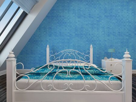 sloping: Modern white wrought iron double bed with an ornate foot and headboard against a blue wall under a sloping window