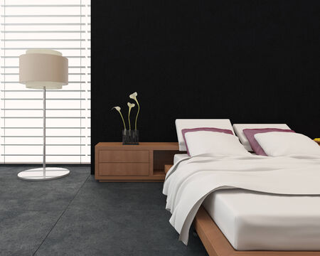 contrasting: Modern bedroom interior with a therapeutic adjustable bed, , freestanding lamp and large window in contrasting black and white decor