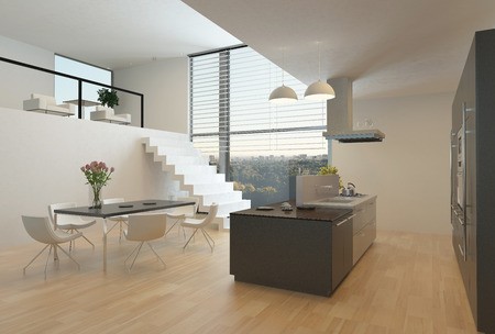 open floor plan: Modern kitchen interior with a central hob, wall units, dining table and steps up to a mezzanine with a large view window
