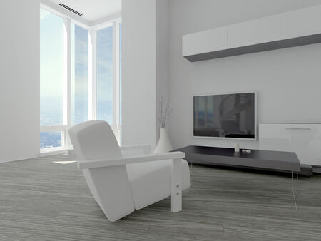 Modern minimalist living room with a white armchair on a parquet floor facing a wall mounted television and floor length windows in the corner photo