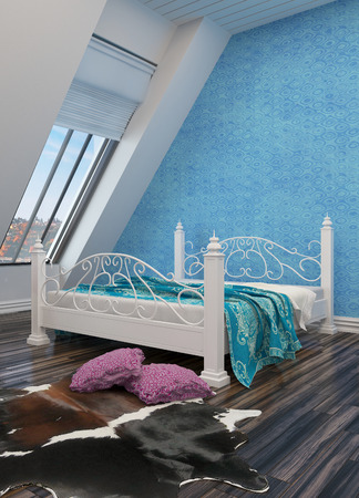 Modern bedroom with a white painted wrought iron bed, animal skin on the floor, white sloped walls with view windows and a blue wall photo