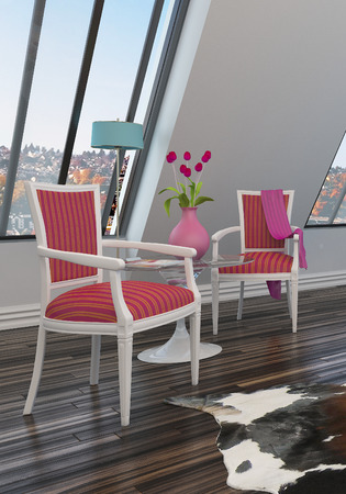 sloping: Pretty red vintage style armchairs with a side table and roses on a parquet floor against a sloping wall with view windows in a living room interior Stock Photo