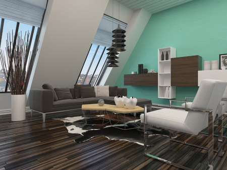 sloping: Modern sitting room interior decor with a sloping wall with windows, contemporary lounge suite and lighting, parquet floor and wall units mounted on a green wall