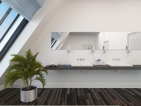 #28829768   Modernes Bad Mit Doppel Waschtisch Unter Einem Langen  Horizontalen Spiegel, Weiße Wand, Schrägen Fenstern Und Einer Topfpalme Auf  Einem Parkett