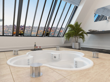 sloping: Sunken trefoil shaped hot tub or spa bath in a modern bathroom overlooked by large sloping windows with an urban view
