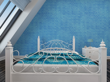 Modern white wrought iron double bed with an ornate foot and headboard against a blue wall under a sloping window photo