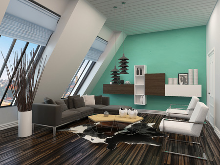 room accent: Modern living room interior with sloping windows and ceiling and a green accent wall with parquet floors and a comfortable contemporary lounge furniture Stock Photo