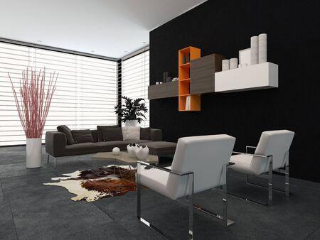 room accents: Soggiorno moderno con una parete di vetro coperto da una tenda, mensole a parete e una suite confortevole sala nei toni del grigio con piccoli accenti colorati