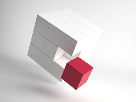 completed: Illustration of flying white 3d cube with one red cube