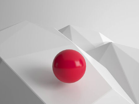 Modern geometric concept illustration wallpaper with one single red ball illustration