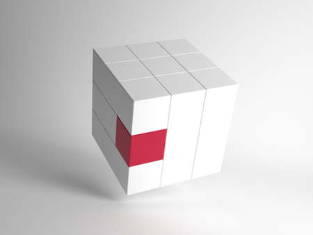 White 3d cube divided into 27 smaller cubes with a single red component balanced at an angle on a graduated background in a conceptual image