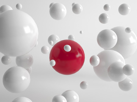 centered: Single large red ball centered amongst numerous floating white balls in different sizes in a concept of uniqueness, quality, individuality and diversity