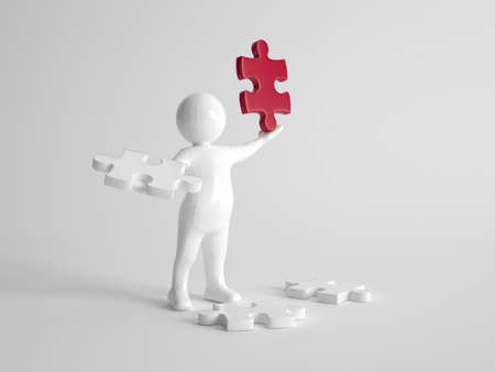 aloft: 3d man finds the solution to a problem standing surrounded by white puzzle pieces with one in his hand while holding aloft a single red piece in his other hand, on grey
