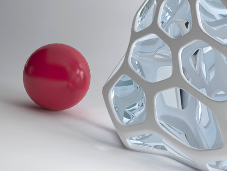 intracellular: Illustration of red ball against modern abstract design grid Stock Photo
