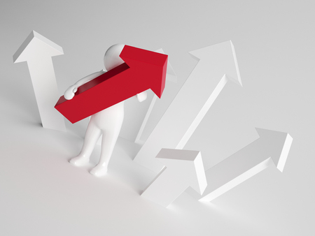 stood up: 3d man holding an upward pointing red arrow while standing in amongst a number of white arrows in a concept of success and achievement Stock Photo