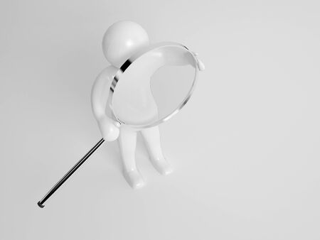 a round of inspection: 3d character carrying a circular silver metal magnifying glass on a grey background with copyspace conceptual of research and investigation