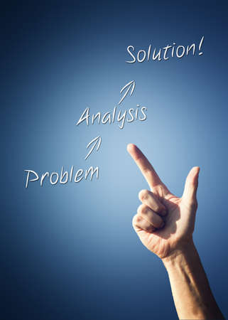 sequential: Mans hand pointing to a Problem - Analysis - Solution flow chart with sequential arrows on a blue background