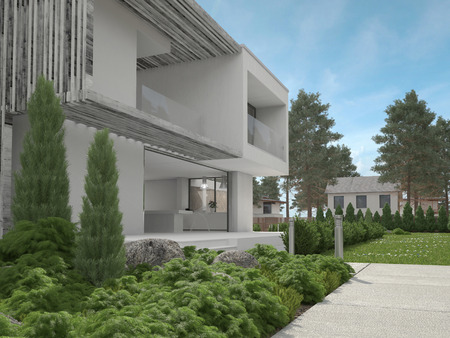 拡大窓のモダンな 2 階建ての家と低木と杉の木と緑の庭園の外観