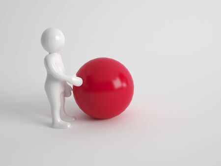 3d character standing sideways touching a large red ball or sphere on a grey background with copyspace