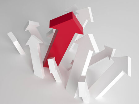 unique concept: Single larger taller red arrow amongst white arrows pointing upwards in a concept of individuality, choices, success and growth