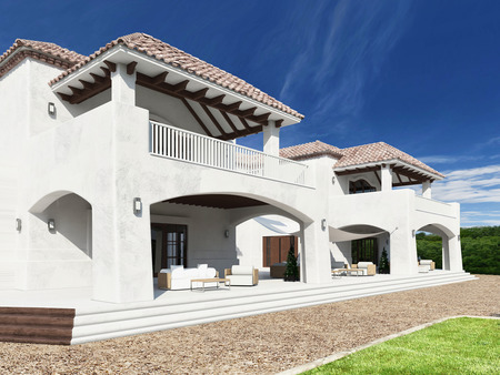 mediterranean homes: Exterior of luxurious white mediterranean style villa with garden Stock Photo