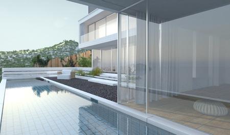 파노라마 뷰 창은 수영장 및 백그라운드에서 산 피크와 자갈에 누워 안뜰이 내려다 보이는 현대 럭셔리 하우스