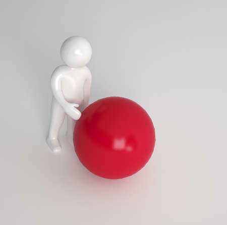 sphere standing: 3d character standing sideways touching a large red ball or sphere on a grey background with copyspace