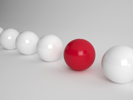 distinctive: Several white ballls and one red one lined up on white background Stock Photo