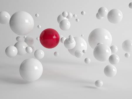 distinguish: Single large red ball centered amongst numerous floating white balls in different sizes in a concept of uniqueness, quality, individuality and diversity