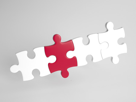 different concept: Individuality concept with one different colored red puzzle piece in a row of white pieces, 3d at an oblique angle on a grey background