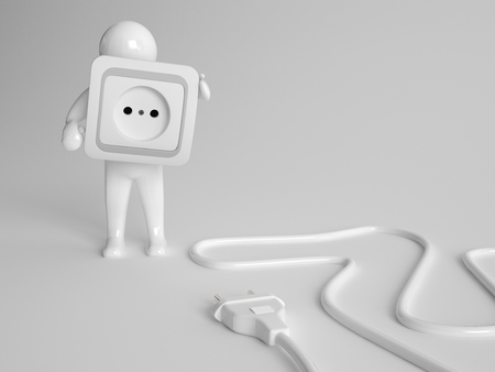 coiled: 3d character holding a white plastic two prong electrical power socket cover with a plug with a coiled cable in front of him on the ground in a conceptual image