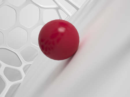 intracellular: 3d rendering of modern abstract grid structure with red ball Stock Photo