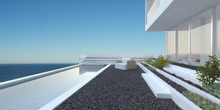 Moderne chique huis met grote glazen ramen, een terras en een zwembad met uitzicht op de zee tegen een zonnige blauwe hemel Stockfoto