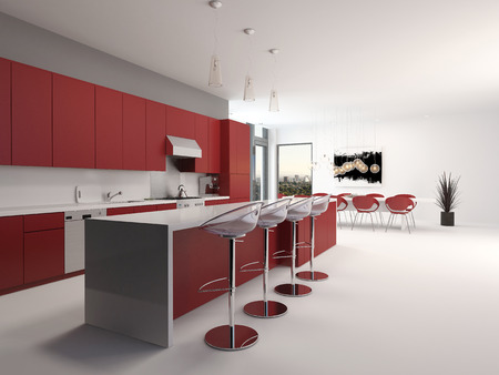 Modern open plan red kitchen interior with a long counter with bar stools and kitchen cabinets
