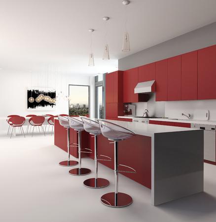 room accents: Moderno open space rosso cucina interna con un lungo bancone con sgabelli da bar e mobili da cucina ed elettrodomestici lungo la parete accentati in stile bianco e rosso, spazioso sfondo architettonico