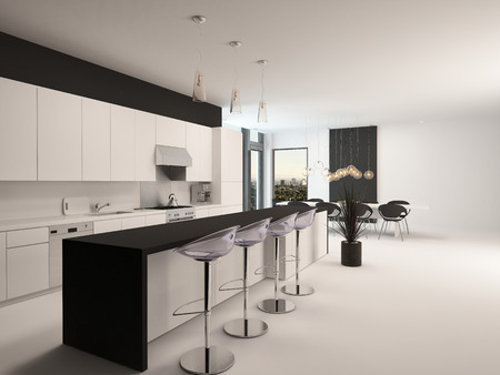 receding: Modern black and white kitchen with a long receding bar counter with bar stools and a small compact living area in front of corner windows